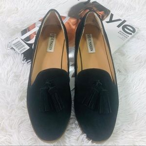 Steve Madden Alore Black Suede Loafers Size 9